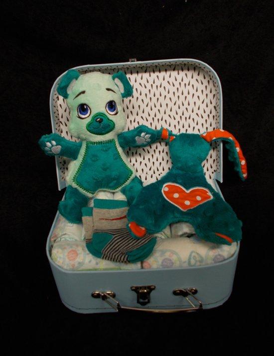 koffertje blauw beertje + knuffeldoekje+kousjes