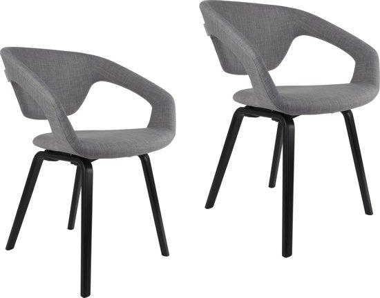 Bol zuiver flex back stoel lichtgrijs met zwart onderstel