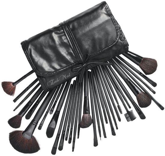 Evvie Professionele 32-delige Make-up Kwastenset - Zwart - in etui en giftbox