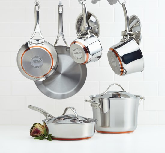 Anolon Nouvelle Copper Stainless Steel 10-delig pannenset