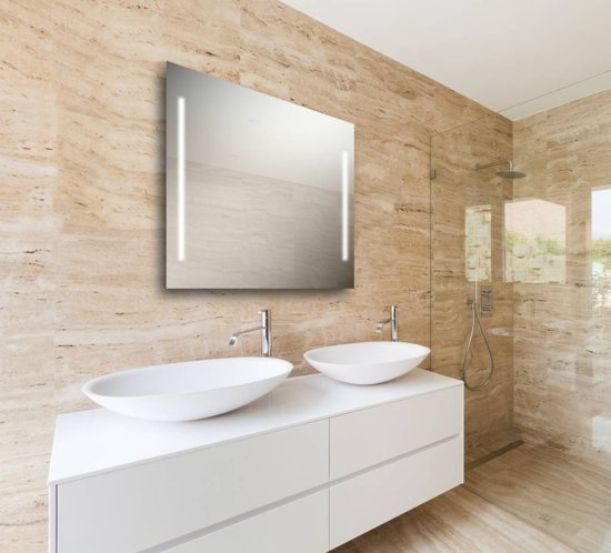 Spiegel met led verlichting verticaal x2 70x80 cm for Spiegel 70x80