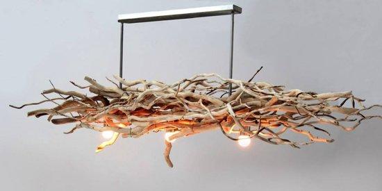 Houten hanglamp brocant kronkel hout br. 160 cm