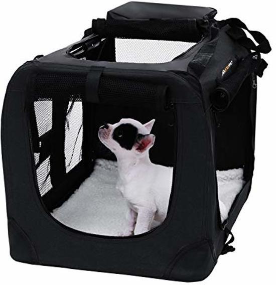 SONGMICS | Honden Bench Transporttas | Transport Box Hond | Reisbench voor in de Auto | Hond Draagzak Tas | Reistas / Reismand | Hondendraagtas | Maat L | Afm. 70 x 52 x 52 cm