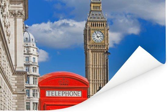 De Big Ben en een rode telefooncel in Londen Poster 30x20 cm - klein - Foto print op Poster (wanddecoratie woonkamer / slaapkamer)