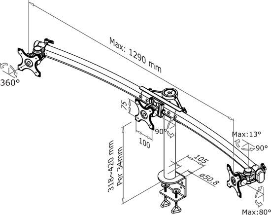 NewStar FPMA-D700D3 bureausteun voor flatscreens