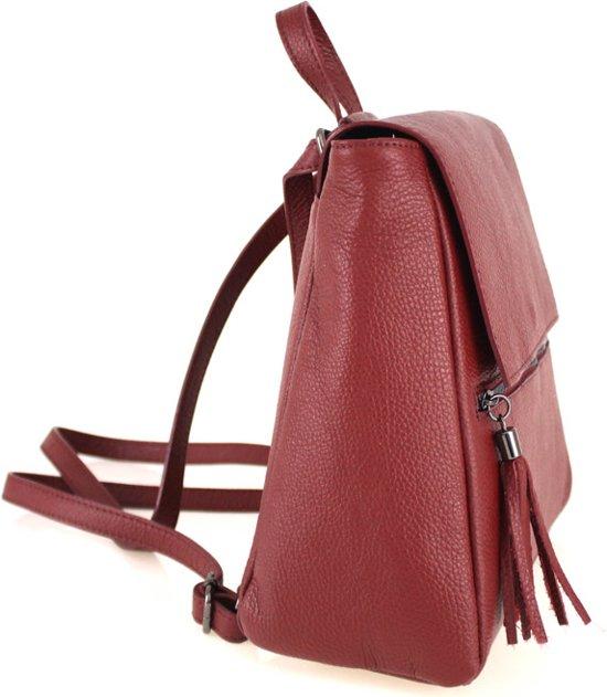 Italiaans Zula In Leder tas travelbag Rugzak Rosso wEqBtx