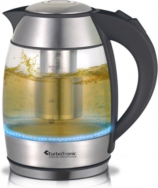 bol.com | TurboTronic - Glazen Waterkoker & Theemaker met LED light