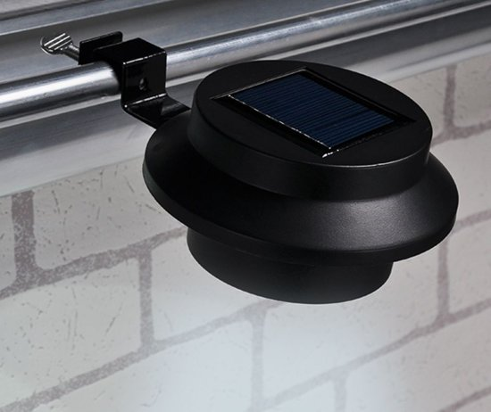 2 Dakgoot Led Solar lampen - Zwart - 600mAh