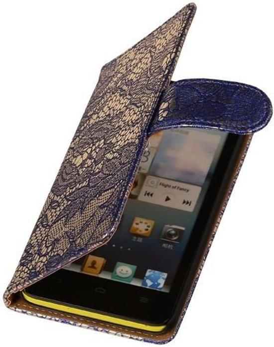 MP Case Blauw Bloem Huawei Ascend G6 4G Wallet Book Case Hoesje in Hazerswoude