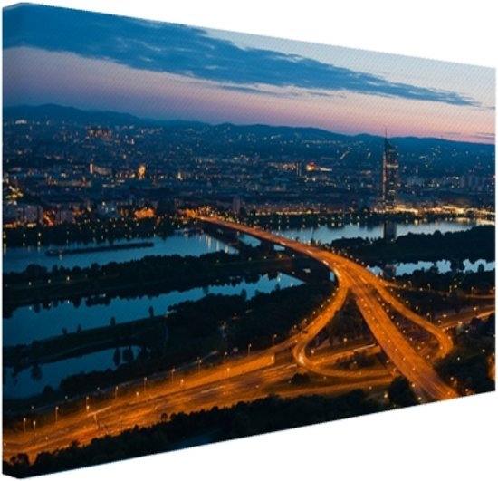 Wenen bij nacht Canvas 30x20 cm - Foto print op Canvas schilderij (Wanddecoratie)