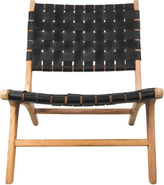 HSM Collection Loungestoel - leder/teak - zwart