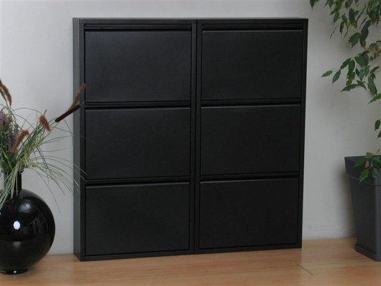 Pisa Schoenenkast Zwart Metaal Met 3 Vakken Set Van 2