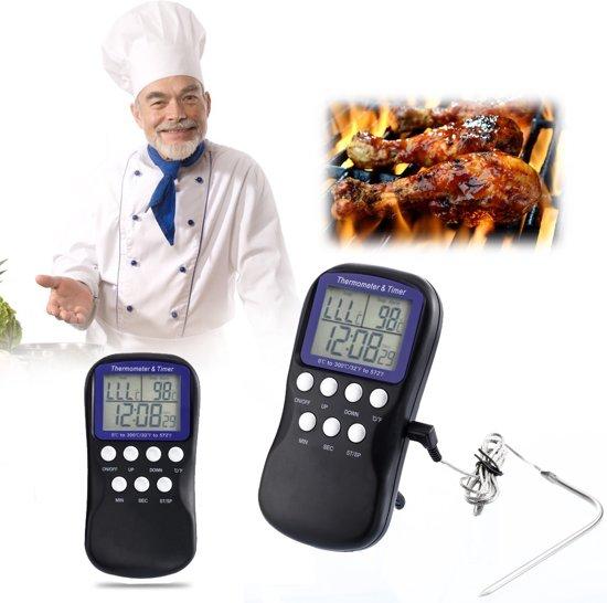 Multifunctionele Digitale Voedselthermometer & Timer - Kookthermometer / BBQ Thermometer / Oven Thermometer / Kernthermometer / Voedselthermometer / Kern Temperatuurmeter / Vleesthermometer / Vloeistofthermometer - Kookwekker Keuken Wekker / Timer