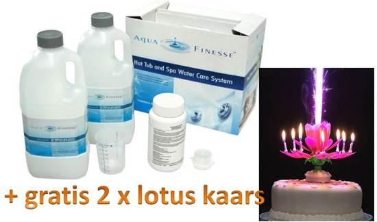 Aquafinesse Spa en Hottub waterbehandelingset met gratis 2 x lotus kaars