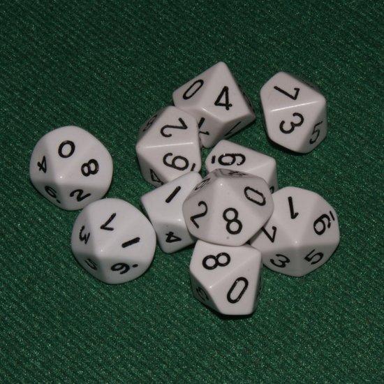 Afbeelding van het spel 10 Vlakken Tienzijdige Dobbelstenen Wit met Zwart 16mm Set van 6 Stuks