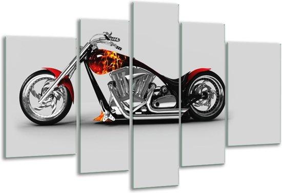 Glas schilderij Motor | Grijs, Zwart, Oranje | 170x100cm 5Luik | Foto print op Glas |  F007490