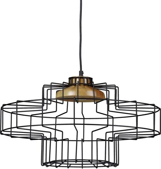 Verwonderend bol.com | relaxdays hanglamp hout metaal, kroonluchter NJ-38