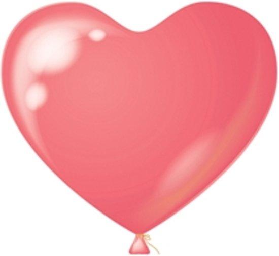 Hart ballon roze H-10, 8 stuks