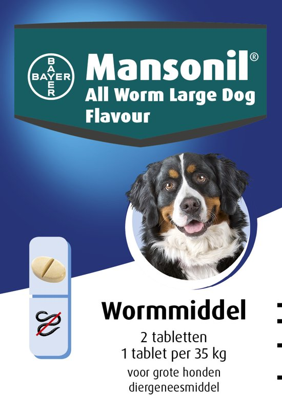Mansonil All Worm Large Dog Ontworming Grote - Hond - 2 tabletten