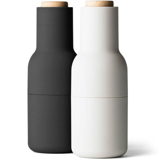 Menu Set Peper- en Zoutmolen Fles 20 cm - Zwart/Lichtgrijs