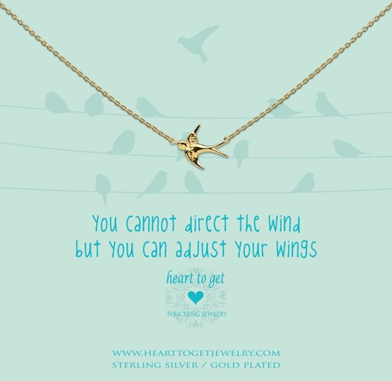 Heart to Get Necklace, gold plated, bird, you cannot direct the wind but you can adjust your wings