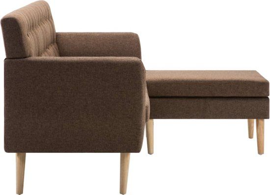 vidaXL Bank L-vormig 171,5x138x81,5 cm stof bruin