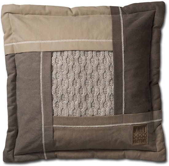 Knitfactory Trix - Sierkussen - 50x50 cm - Beige Melee