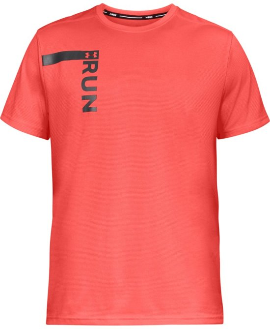 Under Armour Run Tall Graphic SS Sportshirt Heren - After Burn - Maat M