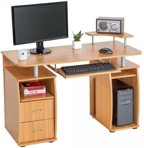 Tectake computerbureau bureau buro mdf hout for Buro k erpent