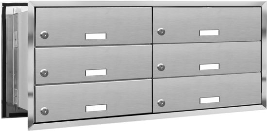 Inbouw brievenbus 6 adressen (inbouw) (2x3)
