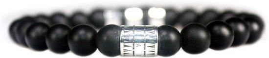 Bela Donaco Armband Luxury B8 – Zwarte mat Onyx – Geoxideerd Sterling Zilver