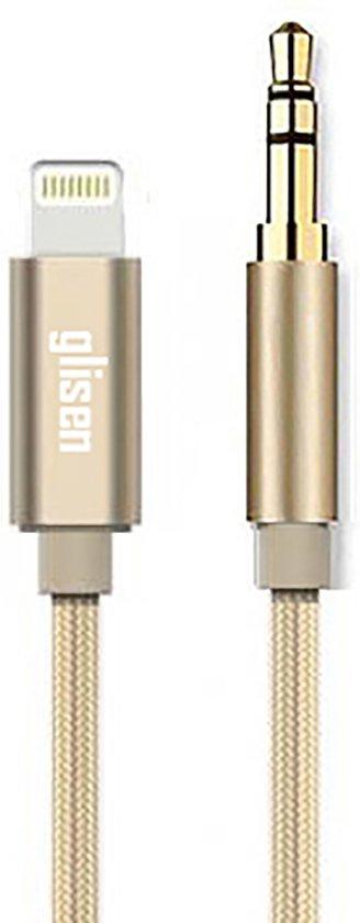 Glisen Audio Aux Kabel Audiokabel 3.5mm Lightning Jack voor Auto / iPhone 5 5s 5c SE X 6 6s 7 8 Plus iPad iPod - 1 meter - Goud
