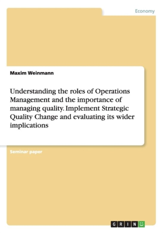 role and importance of operations management