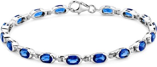 Majestine 925 Zilveren Armband met gecreëerde Blauwe Saffier 19cm
