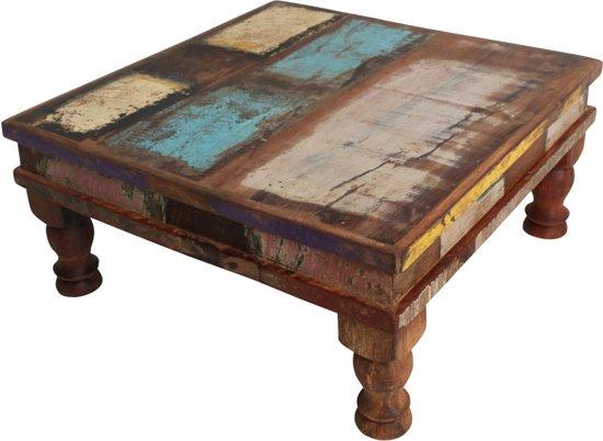 Indiase Salon Tafel.Raw Materials Scrapwood Bijzettafel Salontafel 33x33cm Gerecycled Hout