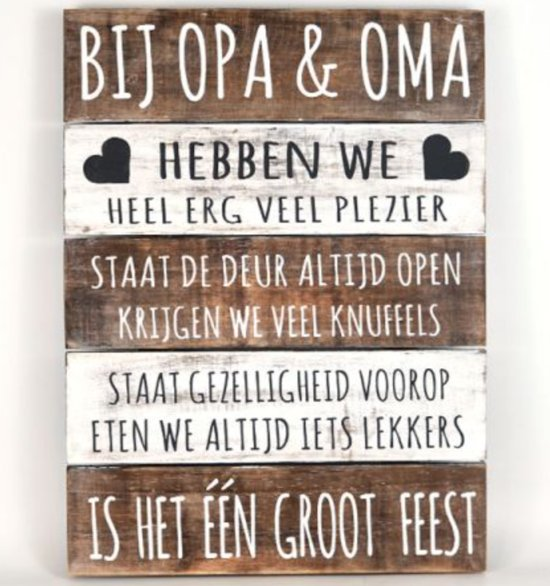 Extreem bol.com | Wandborden Hout Spreukbord Opa & Oma Woondecoratie Voor &VB02