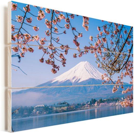 Uitzicht op de Fuji Berg in het Aziatische Japan Vurenhout met planken 30x20 cm - klein - Foto print op Hout (Wanddecoratie)