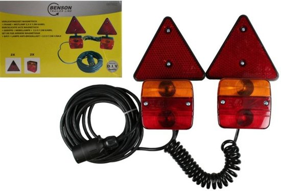 magneet verlichting set met reflector driehoek voor aanhanger of fietsdrager met 25 m x 7