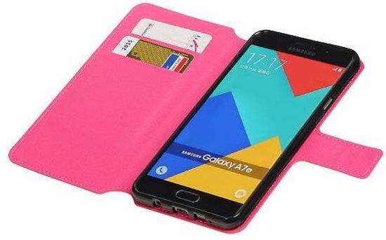 Mobieletelefoonhoesje.nl - Samsung Galaxy A7 2016 Hoesje Cross Pattern TPU Bookstyle Roze