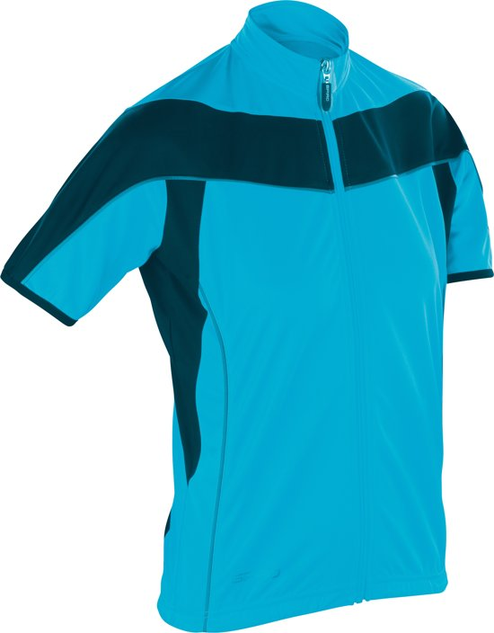 Women's Spiro bikewear full zip top, Kleur Aqua/Black, Maat XL