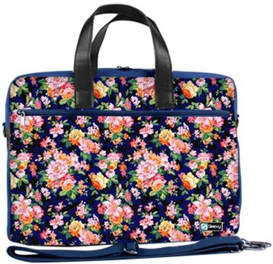 fcba084b7ee Laptoptas 15,6 / schoudertas oranje/roze bloemetjes - Sleevy - reistas -  schoudertas