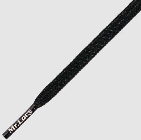 Schoenveters Mr. Lacy Goalies plat zwart Hexagrip voetbalschoenveters 125 cm