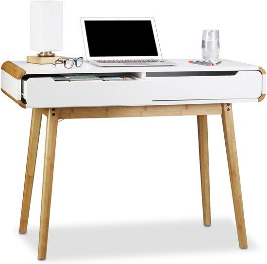 relaxdays Bureau met laden - houten computerbureau - kaptafel - Scandinavisch - wit