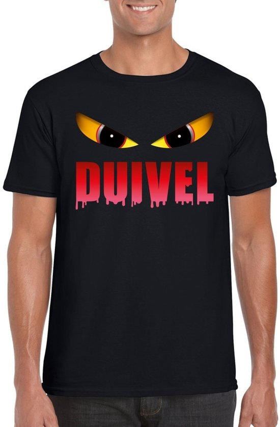 Halloween - Halloween duivel t-shirt zwart heren - Halloween kostuum S