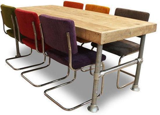 Retro Eettafel Met Stoelen.Van Abbeve Set Tafel En Stoelen Set Steigerhouten Tafel Met 6 Retro Rib Stoelen