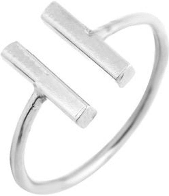 Dubbele bar minimalistische ring verstelbaar zilverkleurig in luxe geschenkdoos