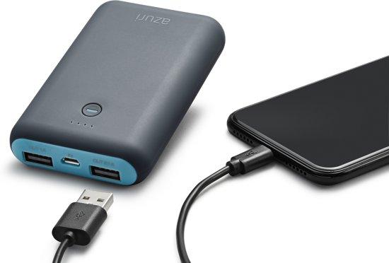 Azuri Powerbank met 2 USB poorten  - 6.000 mAh - Blauw/Grijs