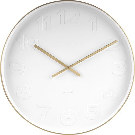 Karlsson Wandklok Mr White Numbers.Wall Clock Mr White Brushed Gold Case