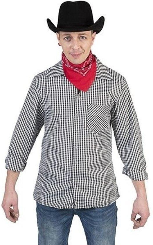 Zwart/wit geruit cowboy verkleed overhemd voor heren 48-50 (S/M)