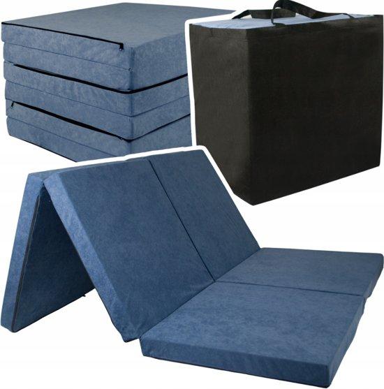 2 persoons logeermatras - navy blauw - camping matras - reismatras - opvouwbaar matras - 195 x 120 x 7